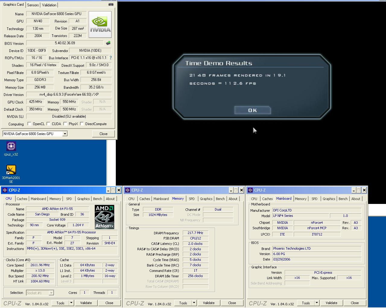 FX55 0.09 um 2x512MB DDR435 2 2 2 5 1T Geforce 6800GT 425 1100 doom3 1024 Ultra.JPG