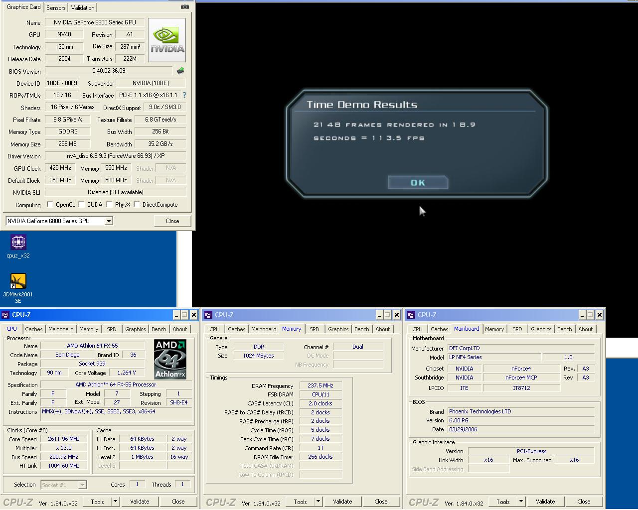 FX55 0.09 um 2x512MB DDR475 2 2 2 5 1T Geforce 6800GT 425 1100 doom3 1024 Ultra.JPG