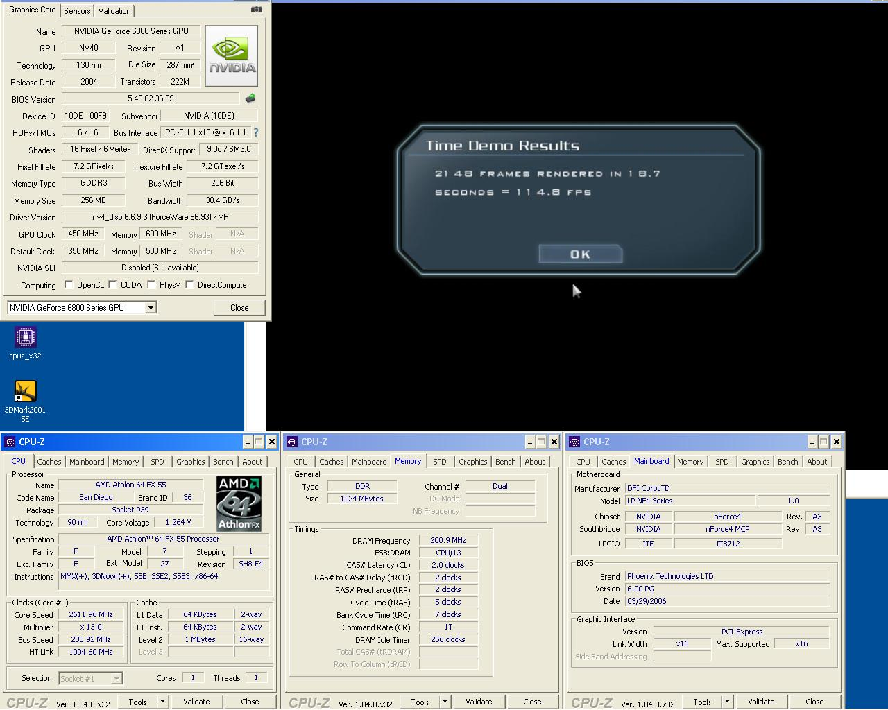 FX55 0.09 um 2x512MB DDR400 2 2 2 5 1T Geforce 6800GT 450 1200 doom3 1024 Ultra.JPG